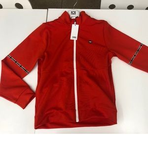 auth boss red jacket boy size 14 logo zip